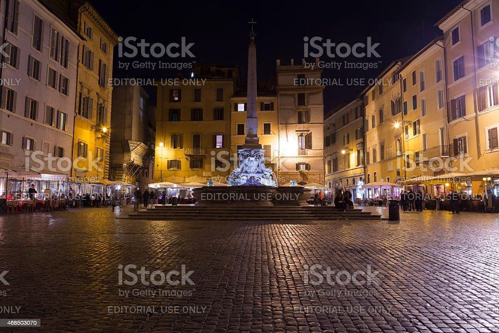 Fontana del Pantheon and an Egyptian obelisk stock photo