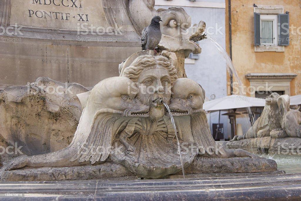Fontana del Pantheon at Piazza della Rotonda stock photo