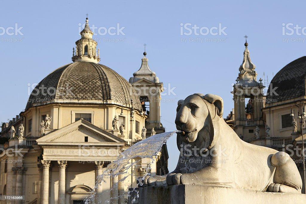 Fontana dell' Obelisco on Piazza del Popolo in Rome stock photo