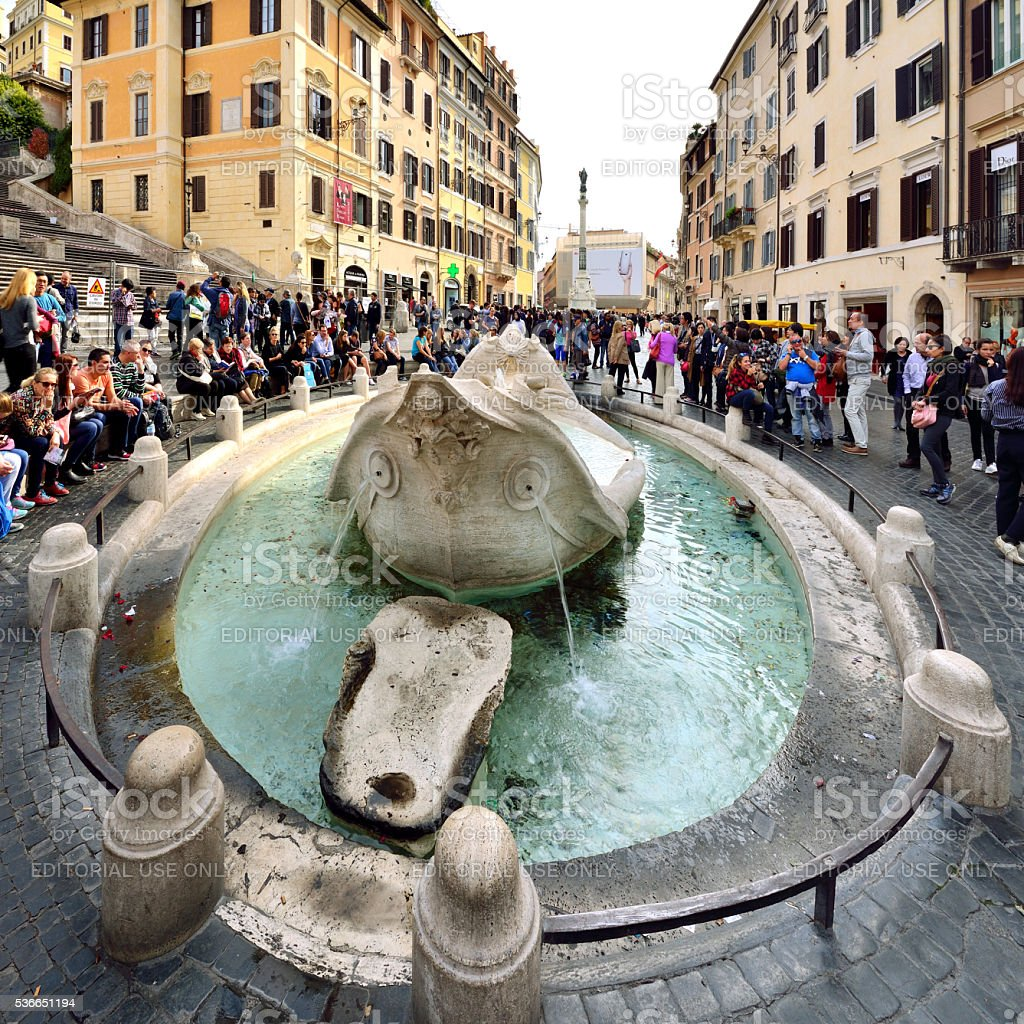 Fontana Della Barcaccia, Spanish Steps, Rome, Italy stock photo
