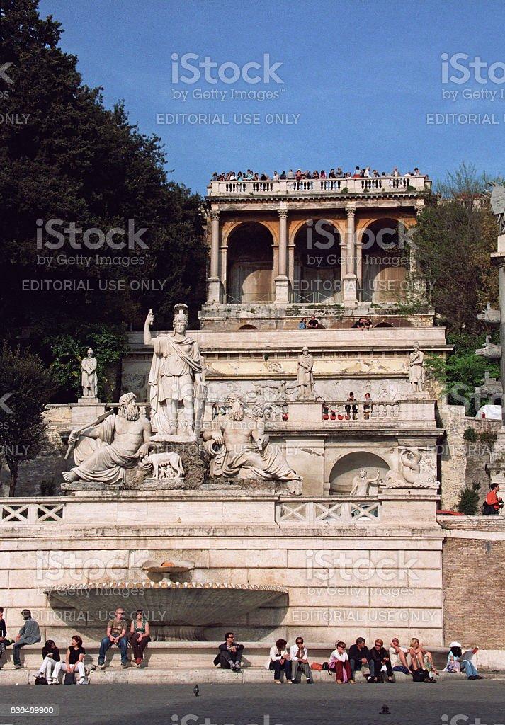 Fontana della  Dea di Roma at Piazza del Popolo, Rome stock photo