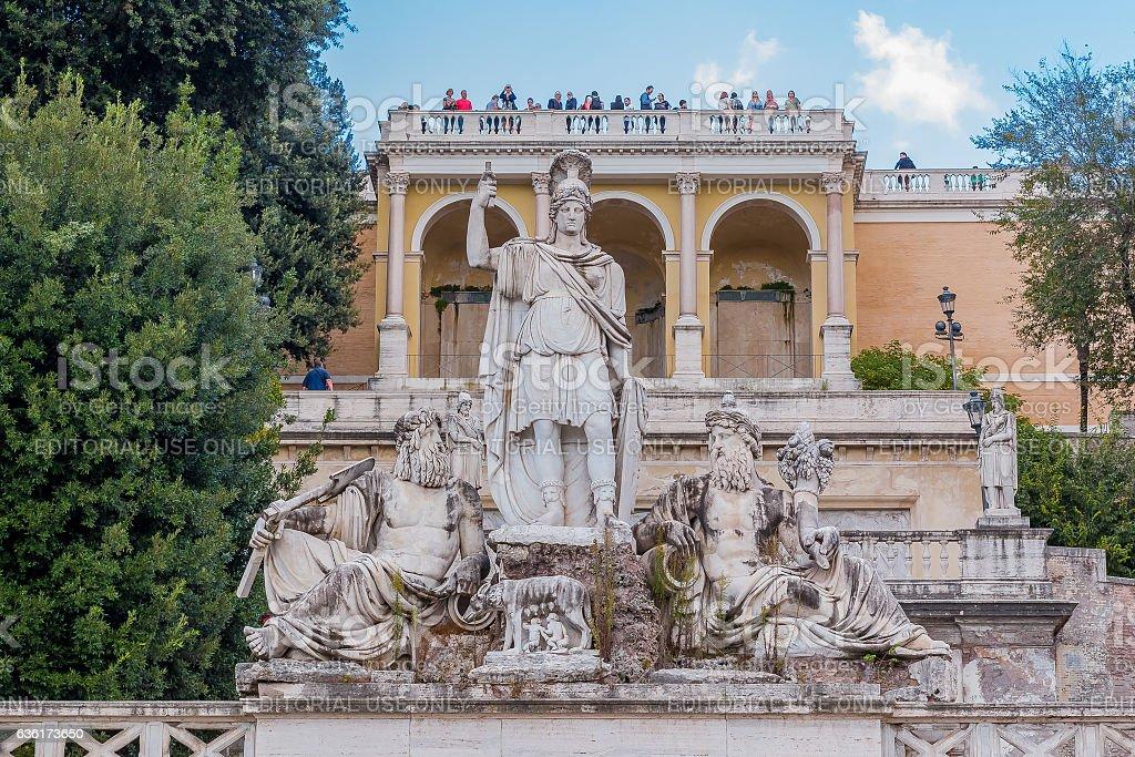 Fontana della Dea di Roma in  Piazza del Popolo stock photo