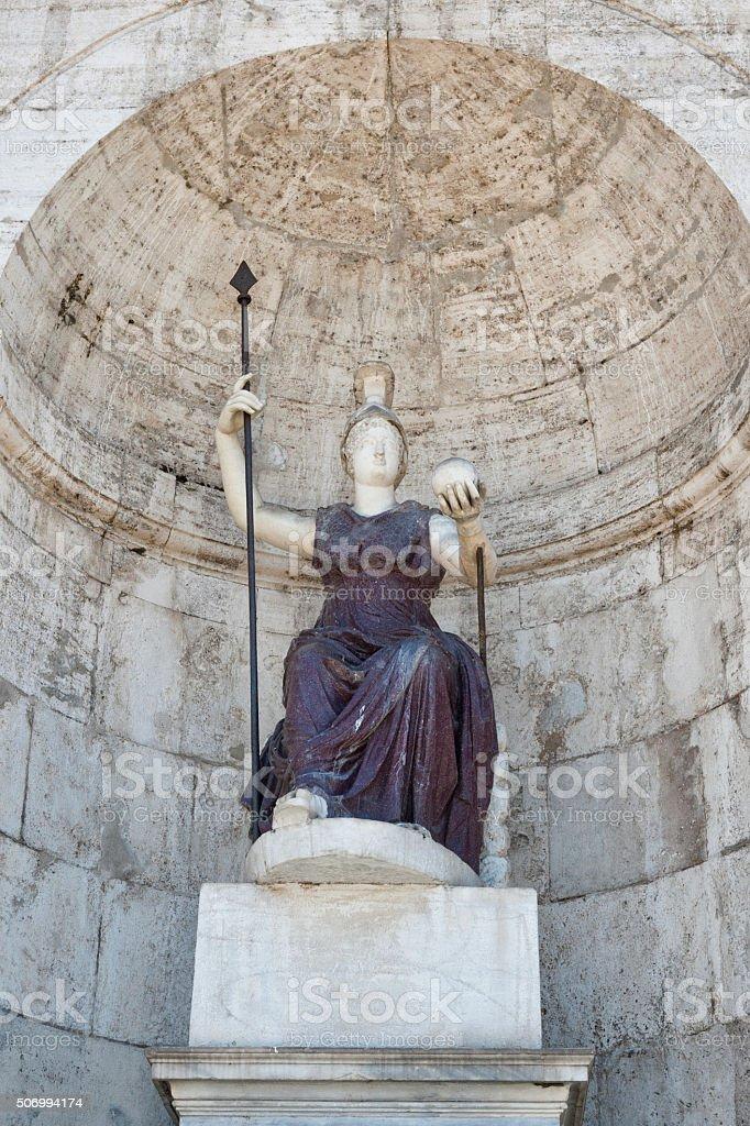 Fontana della Dea Roma at Palazzo Senatorio in Rome, Italy stock photo