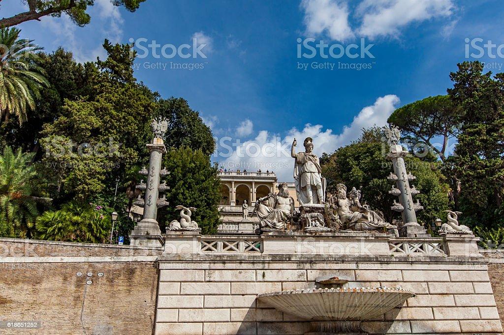 Fontana della Dea Roma in Piazza del Popolo in Rome stock photo