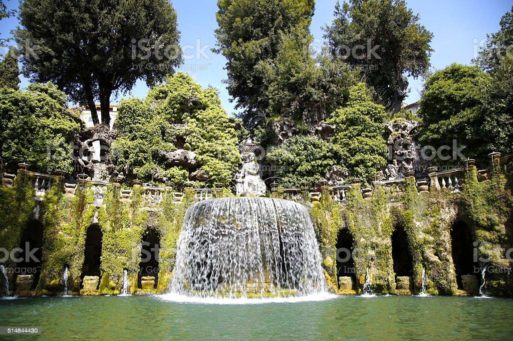 Fontana dell'Ovato, Villa d`Este fountain and garden in Tivoli n stock photo