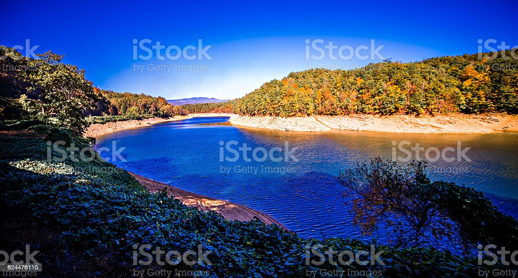 Fontana Lake in North Carolina with Low Water Levels stock photo