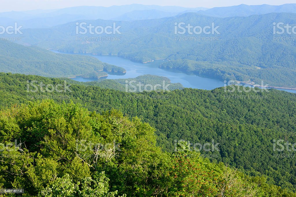 Fontana Lake viewed from Shuckstack Fire Tower in Smoky Mountains stock photo