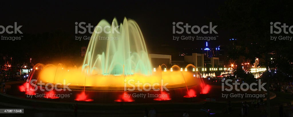 Fontana Magica in blue and yellow stock photo