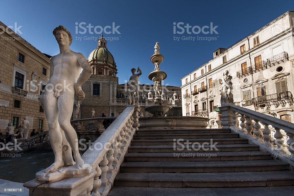 Fontana on Piazza Pretoria in Palermo, Sicily, Italy stock photo