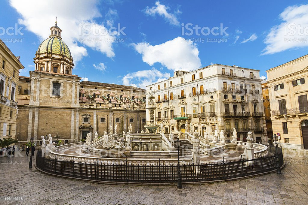 Fontana Pretoria in Palermo, Sicily, Italy stock photo