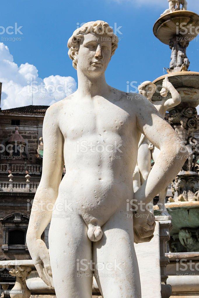 Fontana Pretoria (Fountain of Shame) in Palermo, Sicily, Italy stock photo