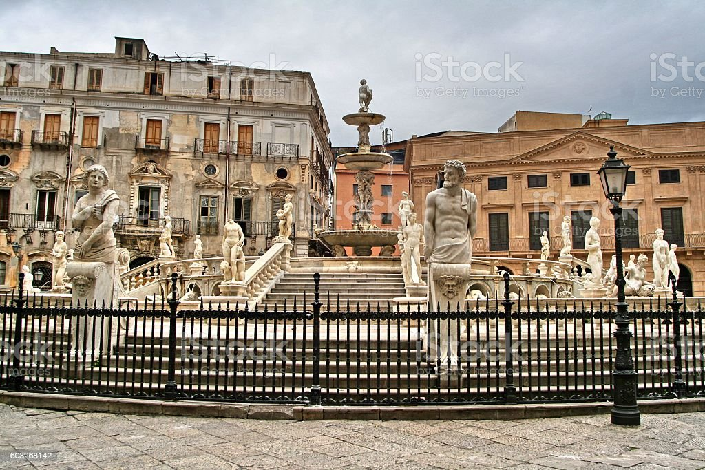 fontana pretoria, palermo, sicily, italy stock photo
