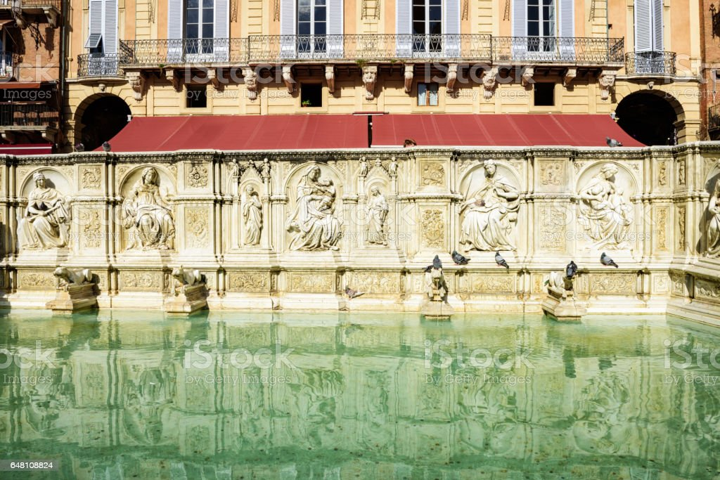 Fonte Gaia, Piazza del Campo, Siena, Italy stock photo