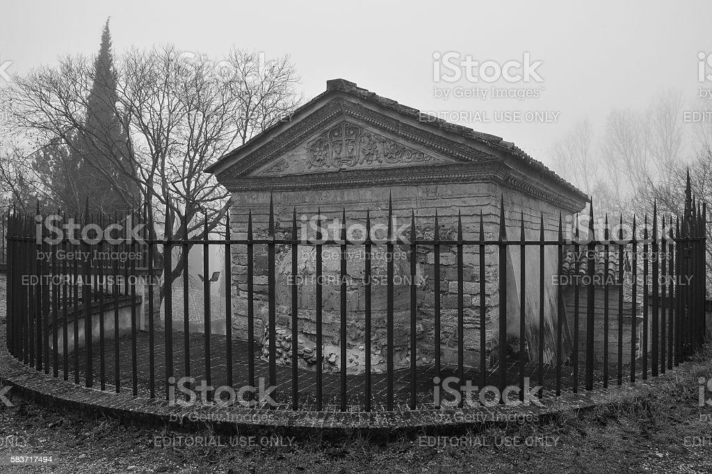 'Fonti del Clitunno' and Temple of Clitumnus in the fog stock photo