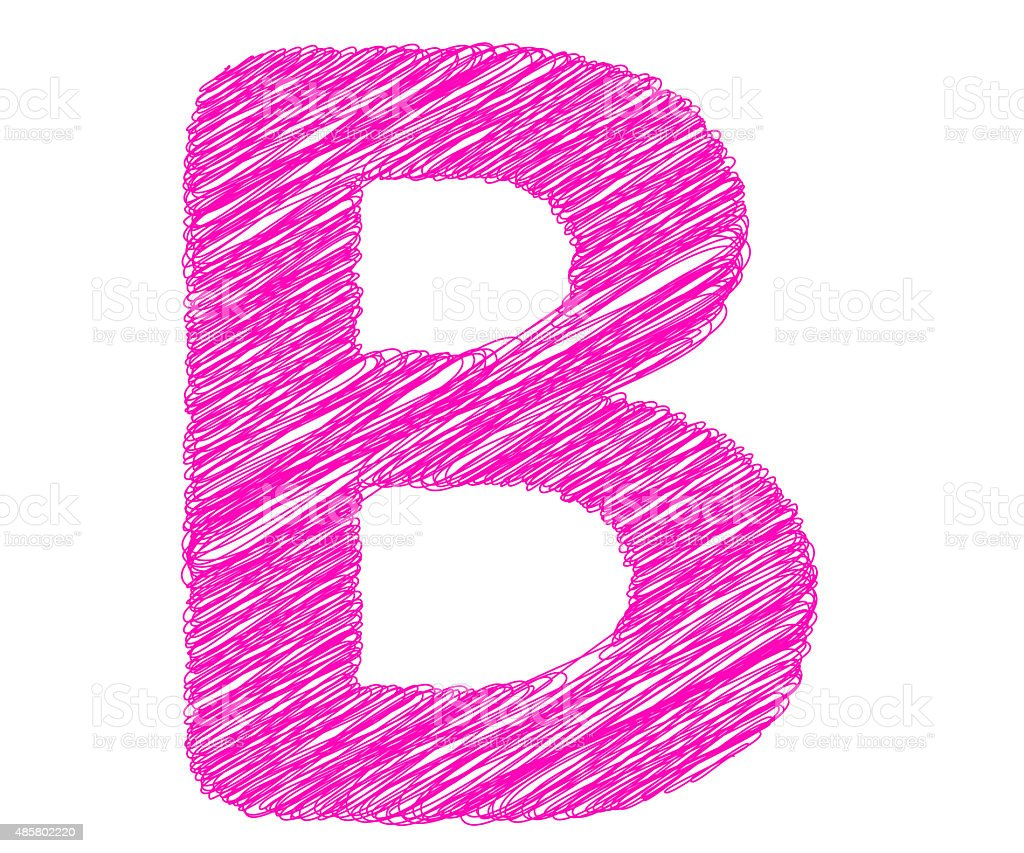 Fonts stripes pink line, B letter stock photo