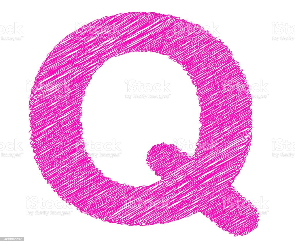 Fonts stripes pink line,Q letter stock photo