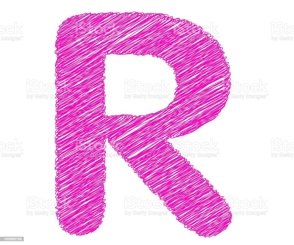 Fonts stripes pink line,R letter stock photo
