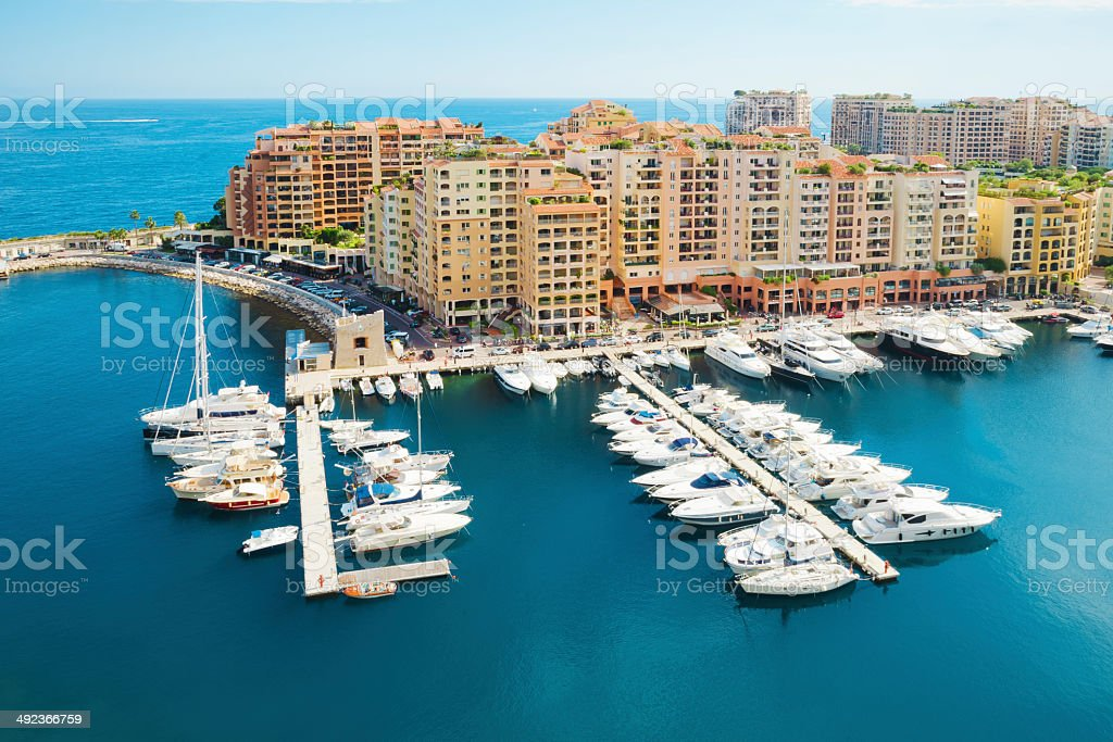 Fontvieille and Monaco Harbor with Luxury Yachts stock photo
