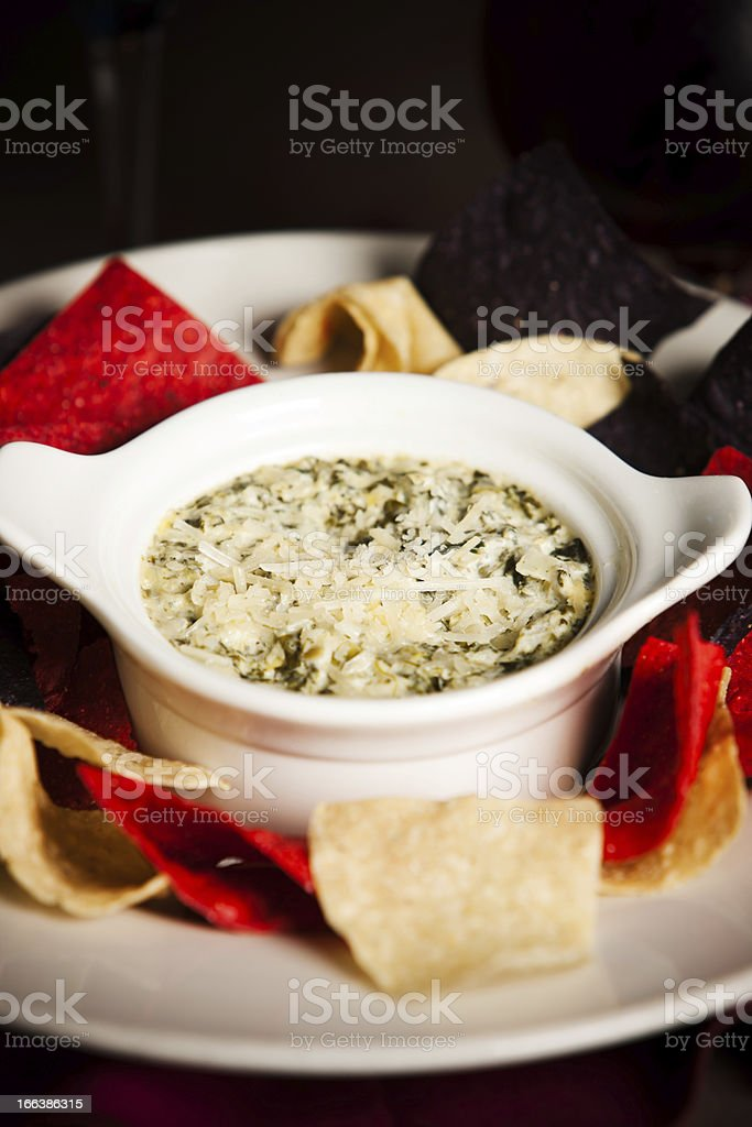 Food and Drink: Cheesy Spinach Artichoke Dip royalty-free stock photo
