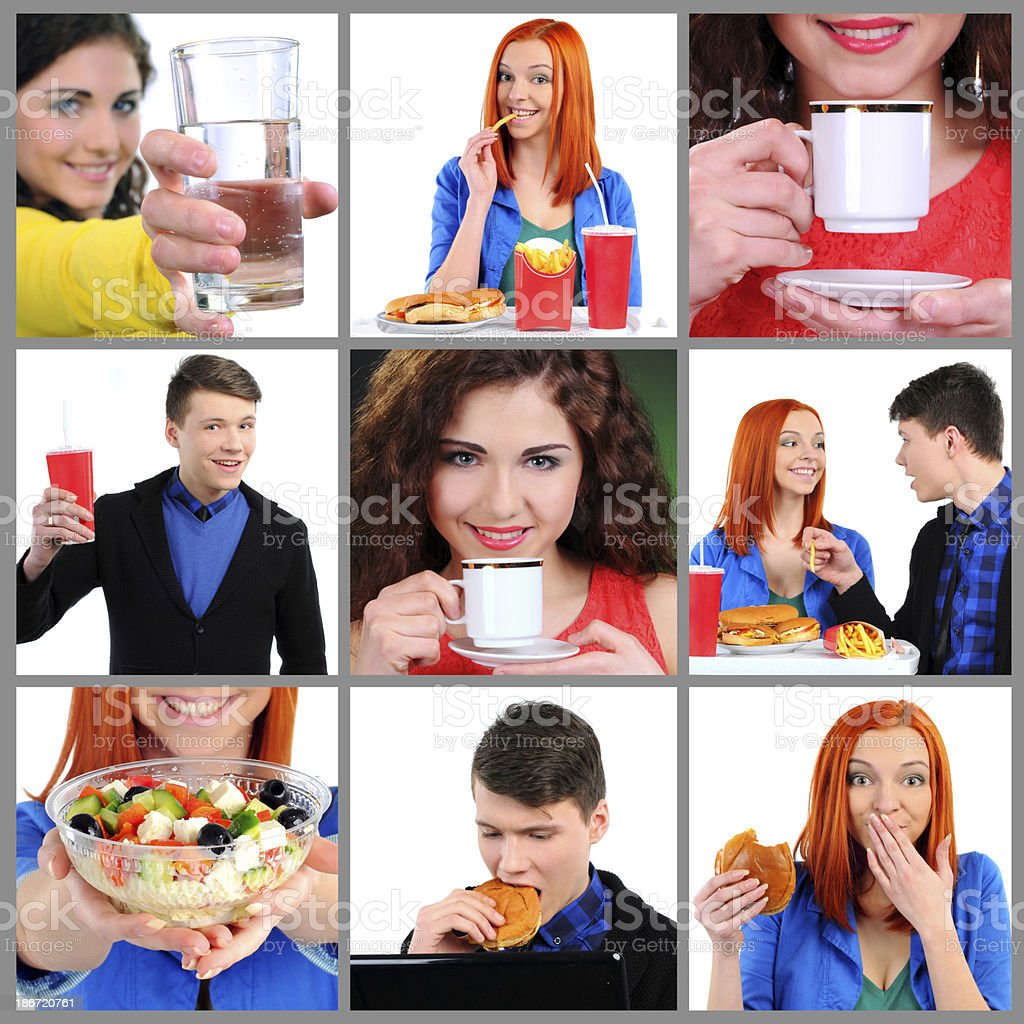 Food And Drink. Collage with people eating food and drinks