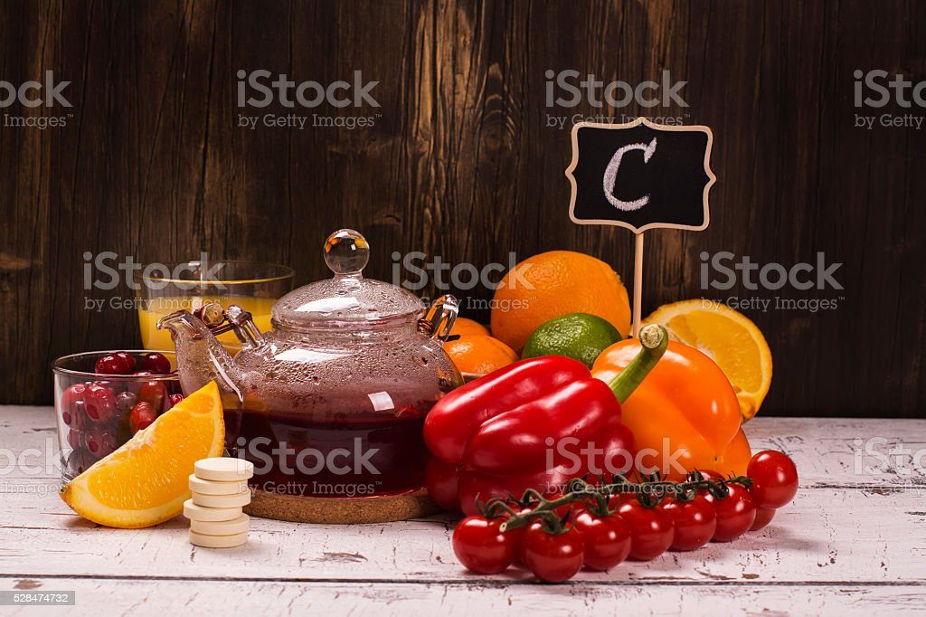 Food and drinks rich of natural vitamin C stock photo