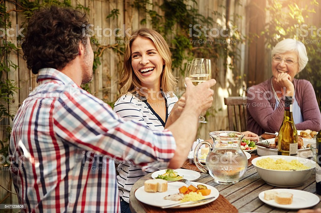 Food and family - the perfect way to spend the day stock photo