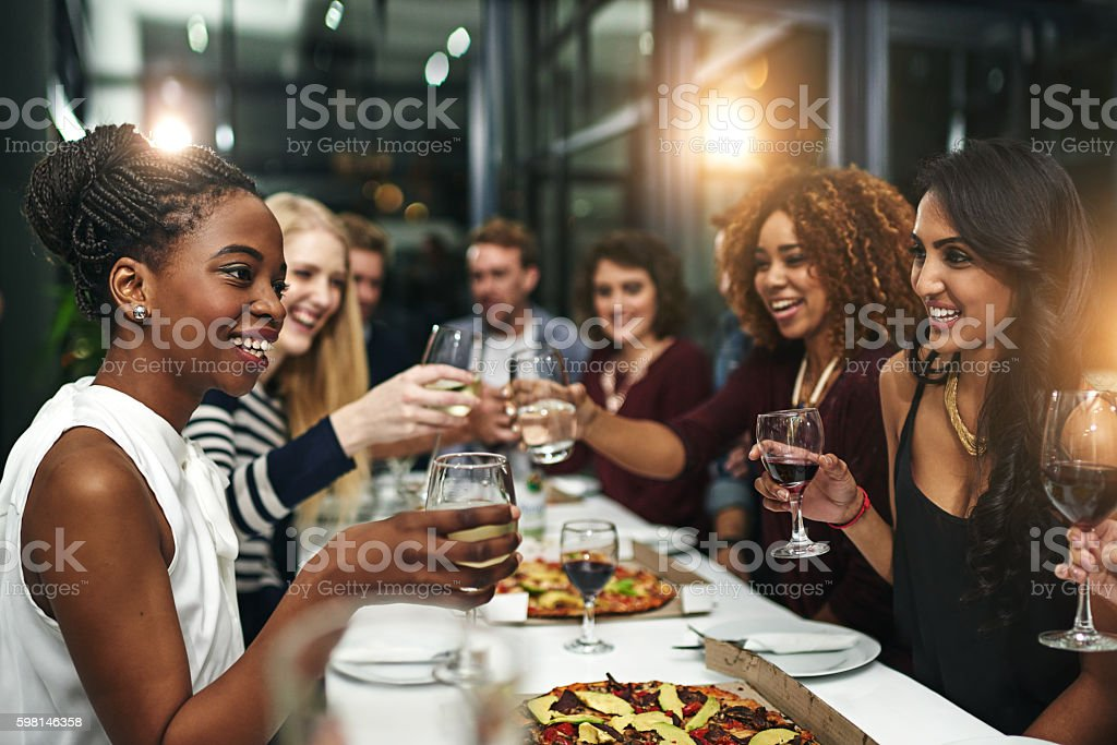 Food and friendship is always winning combination stock photo