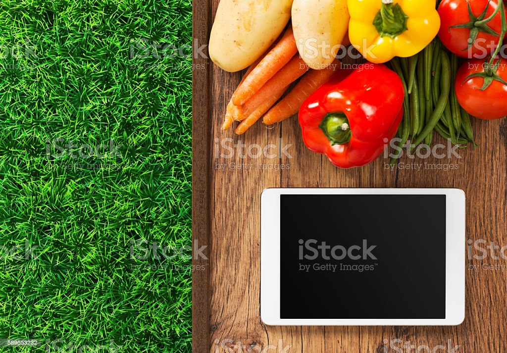 Food and gardening app stock photo