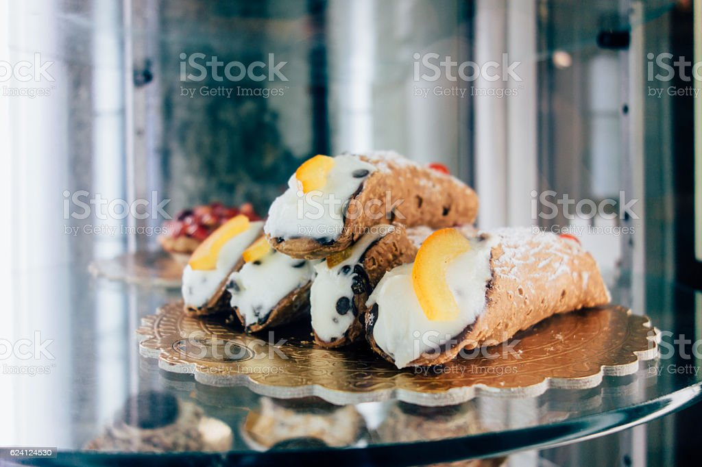 Food and pastry. Cannoli from Sicily stock photo