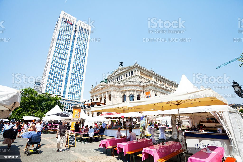 Food and restaurant stalls on square Alte Oper stock photo