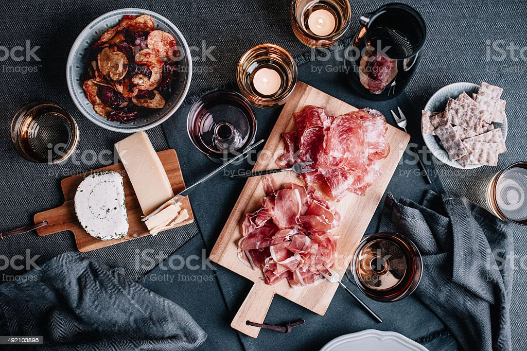 Food and table setting overhead table top view stock photo