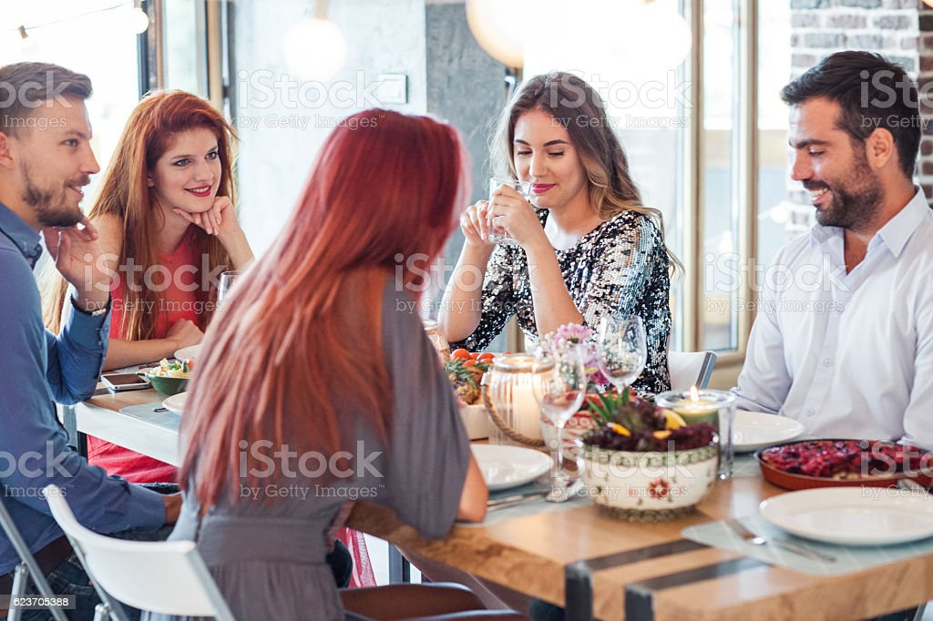 Food and wine lovers stock photo