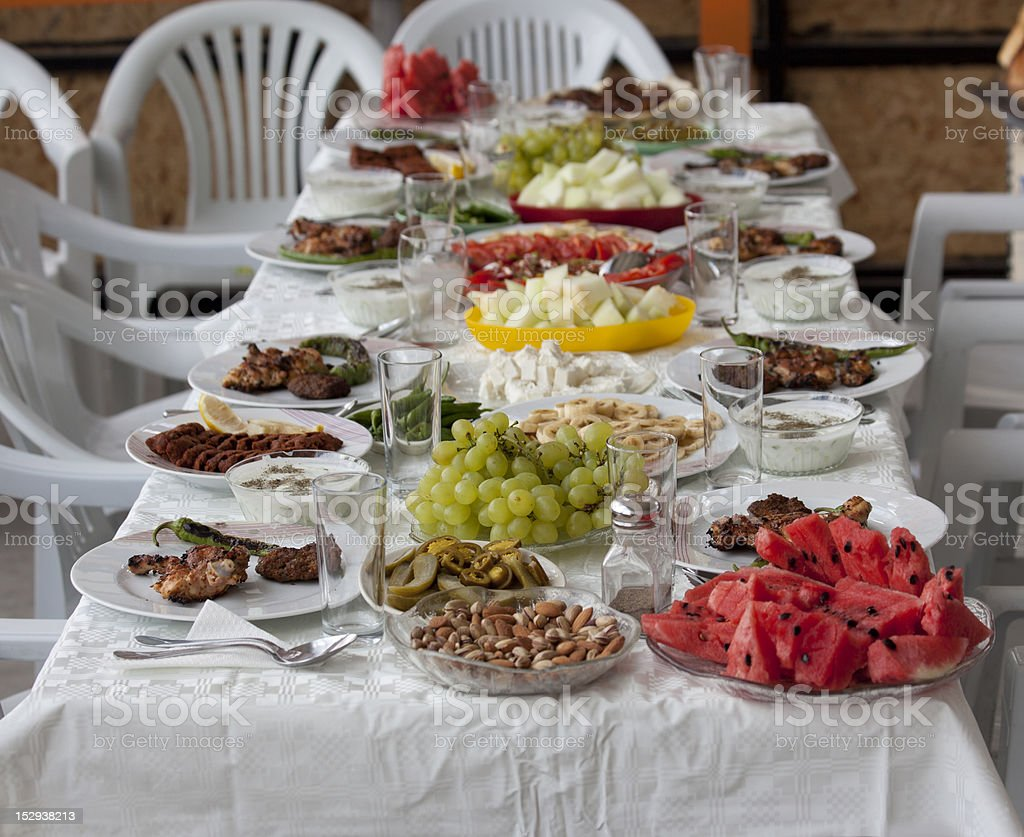 food at table in turkey royalty-free stock photo