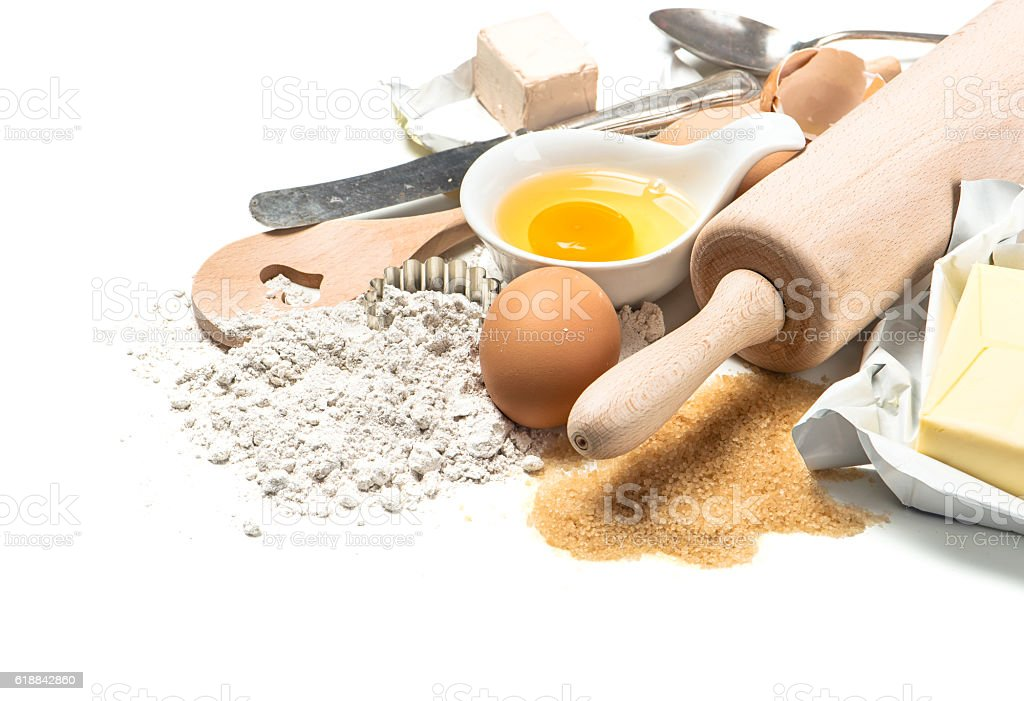 Food background Baking ingredients Wooden kitchen utensils stock photo