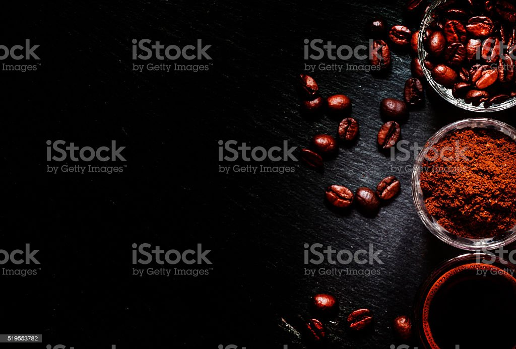 Food background: coffee beans, ground coffee, fresh espresso stock photo