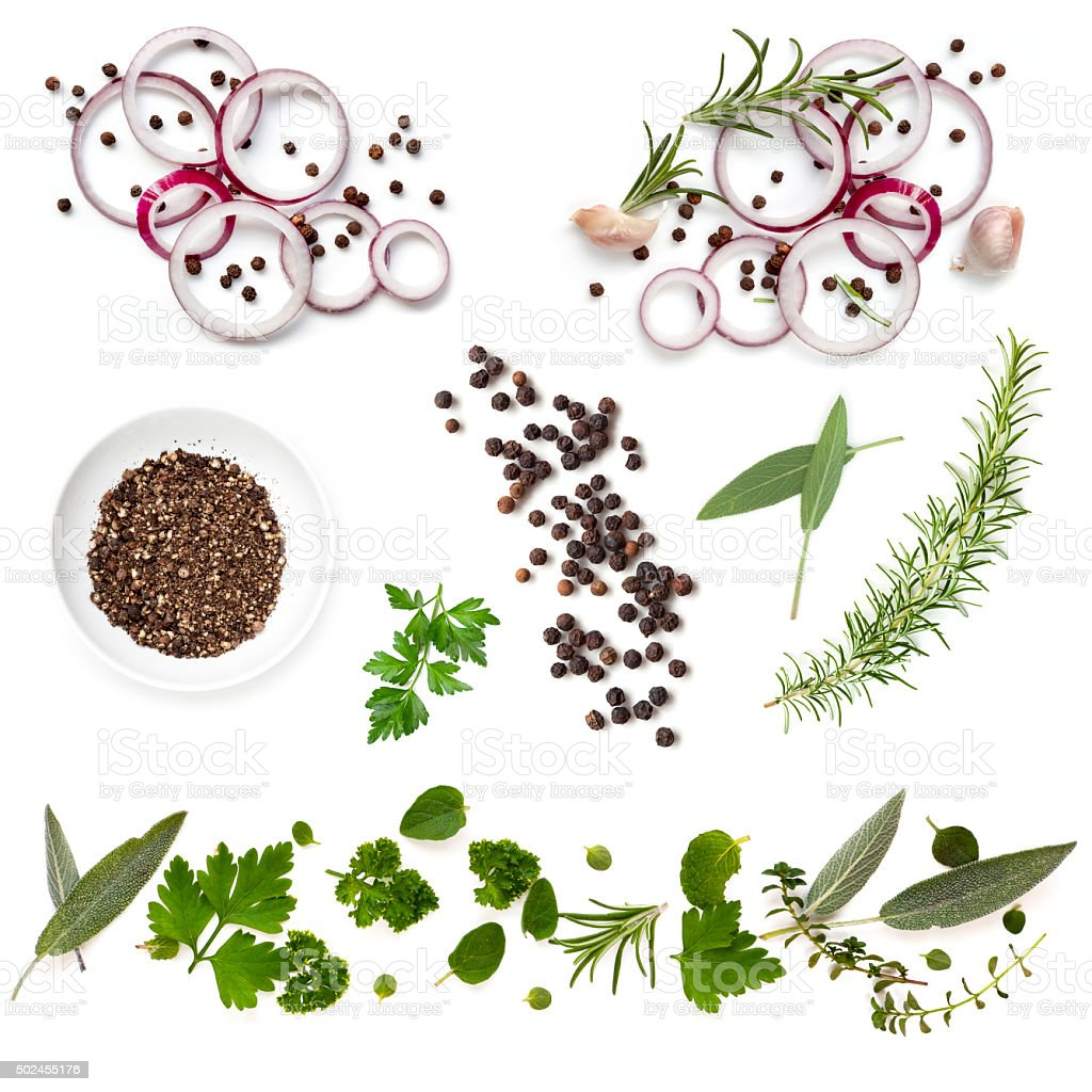 Food Background Collection Onions Herbs Peppercorns stock photo
