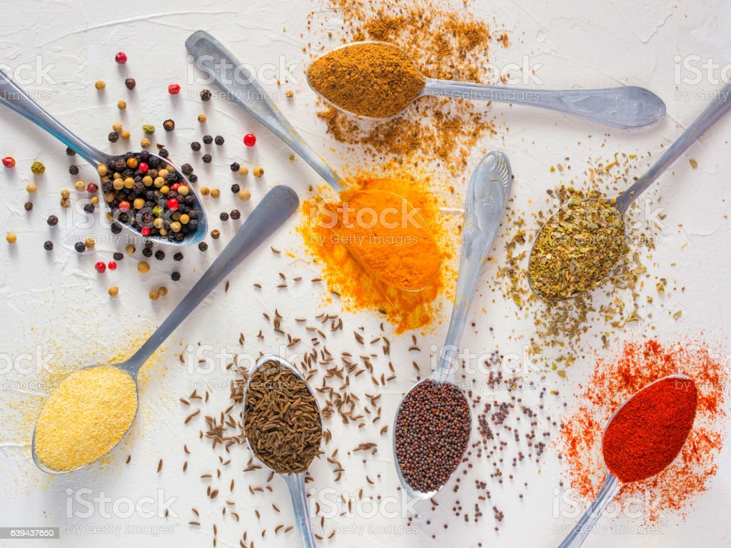 Food background indian spices on white stock photo