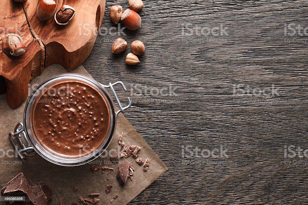 Food background of hazelnut spread stock photo