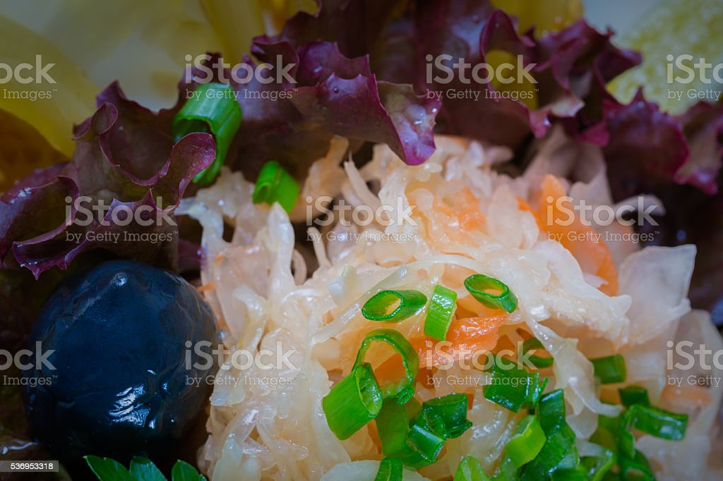 Food background. Sauerkraut with green onions stock photo