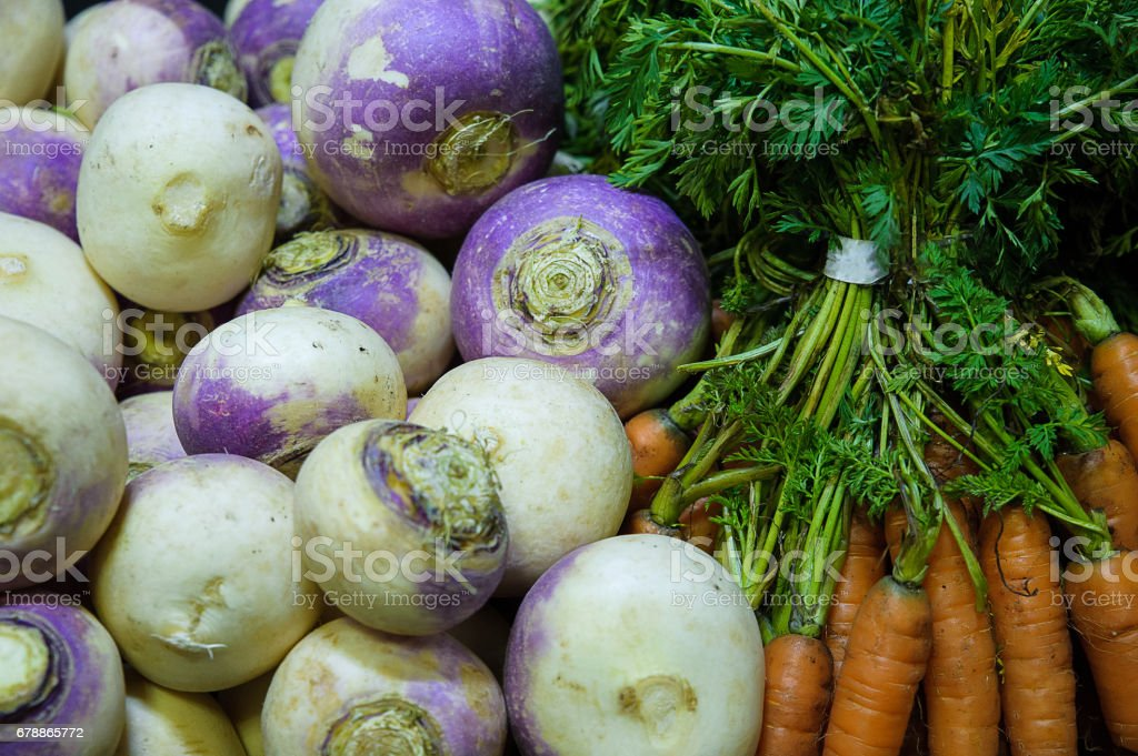 Food background - turnips and carrots stock photo