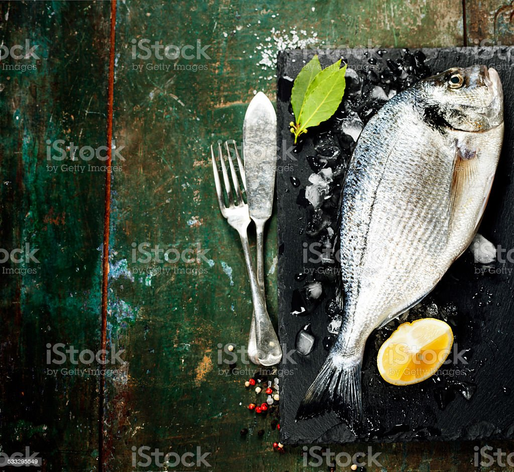 Food background with Fish and Wine stock photo