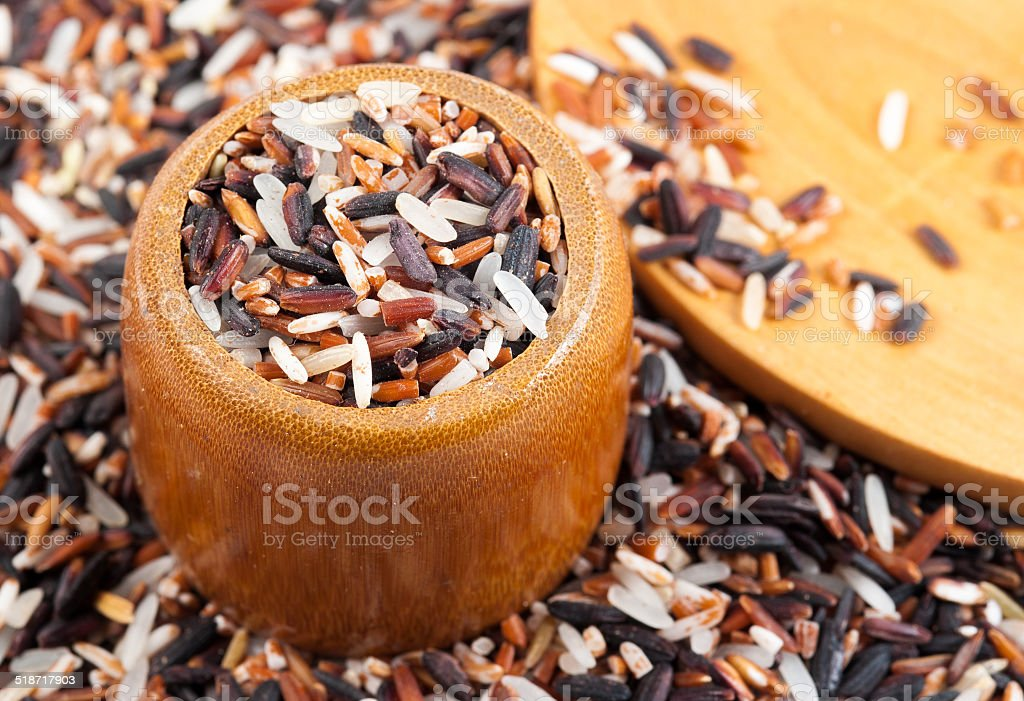 Food background with of rice variety . stock photo