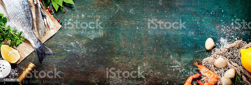 Food background with Seafood and Wine stock photo