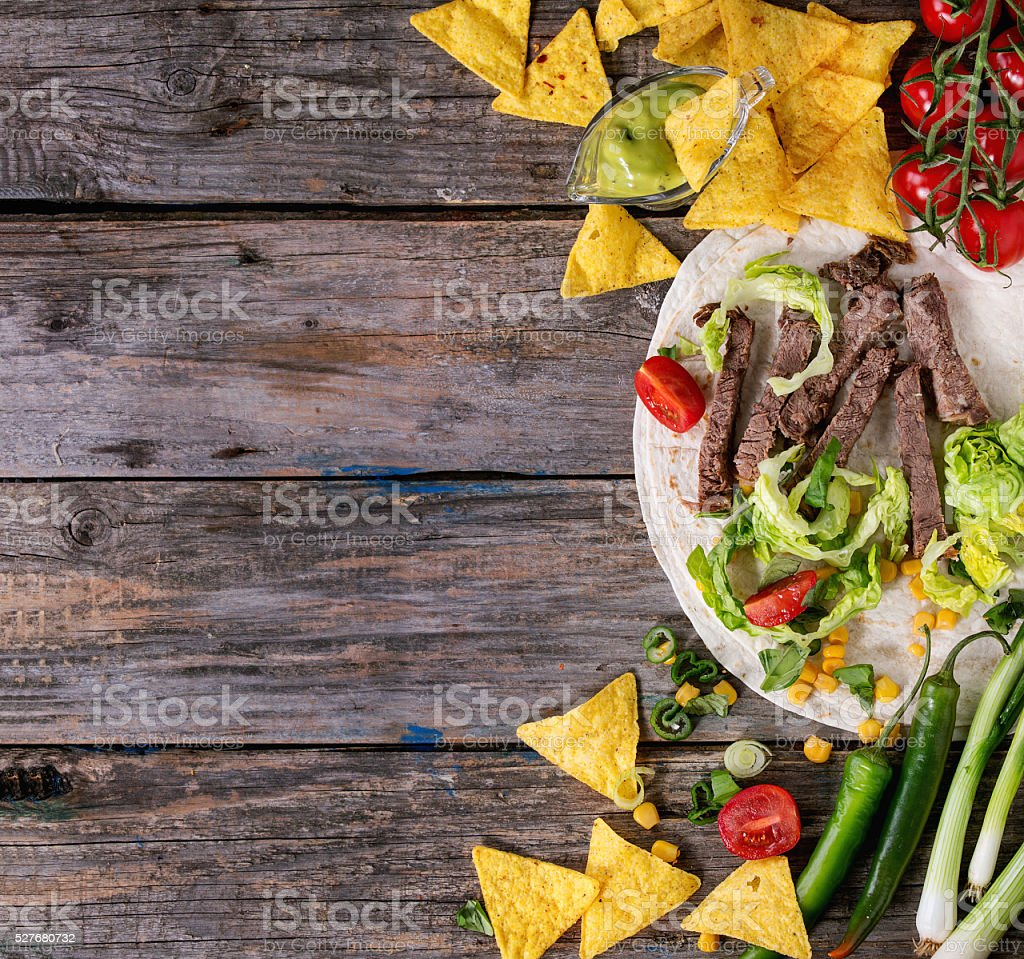 Food background with tortilla ingredients stock photo