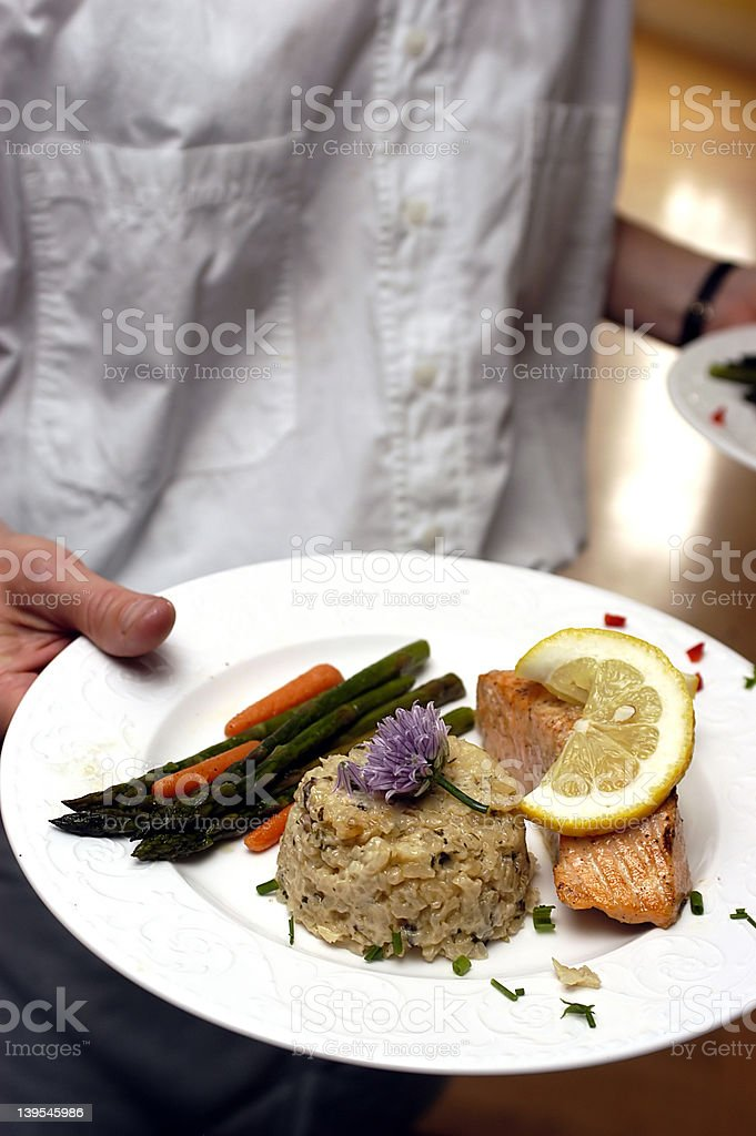 Food being served at a dinner event royalty-free stock photo