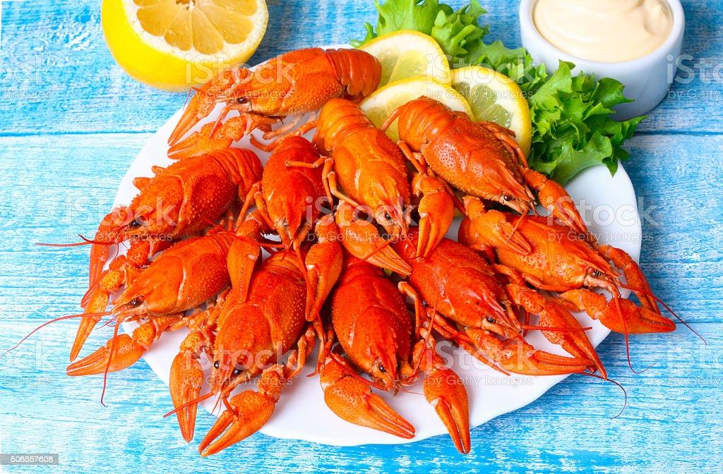 food boiled crayfish stock photo