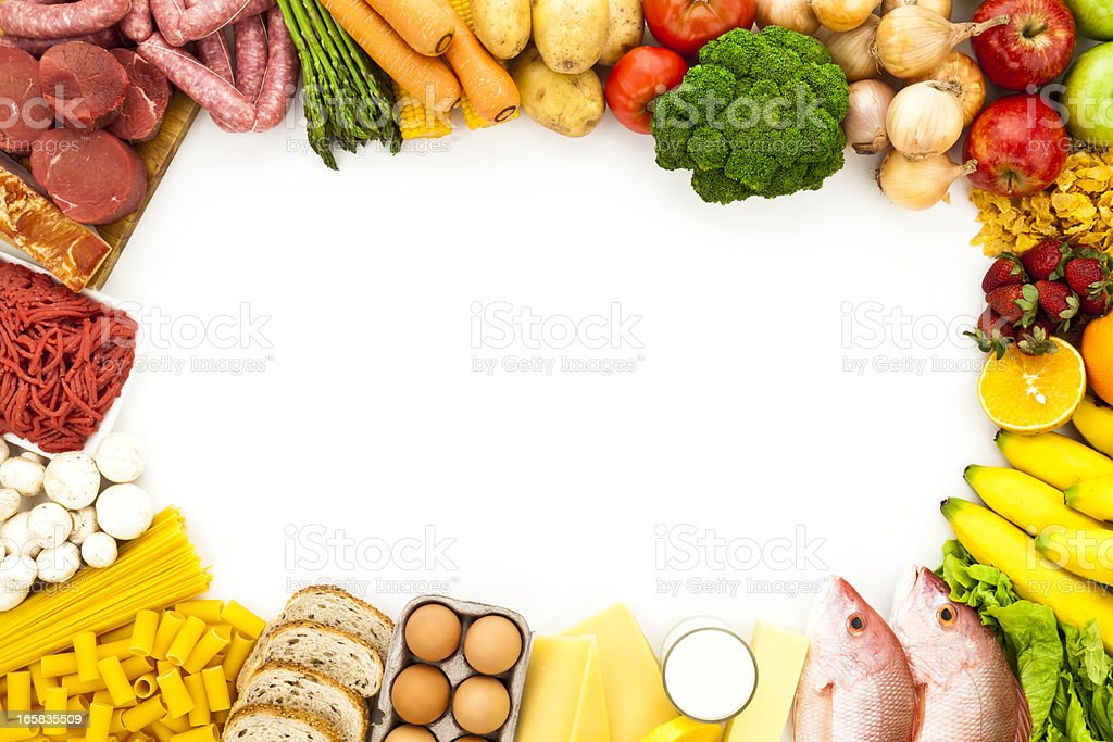 Food border with white copy space shot from above royalty-free stock photo