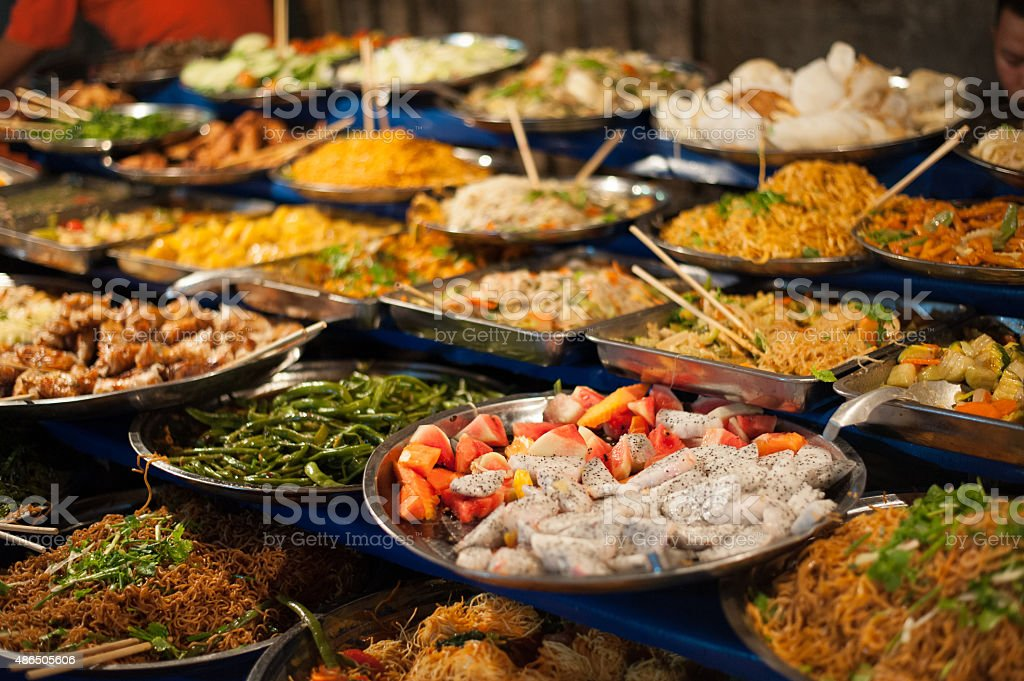 Food buffet in Luang Prabang. stock photo