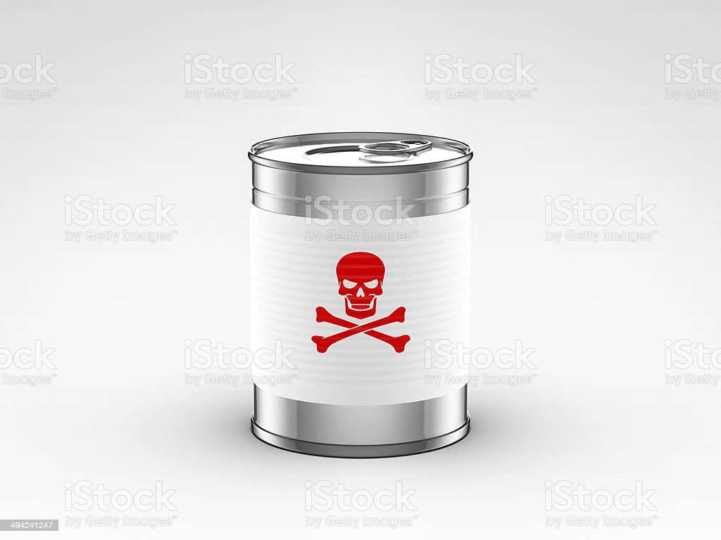 food can with poison label stock photo