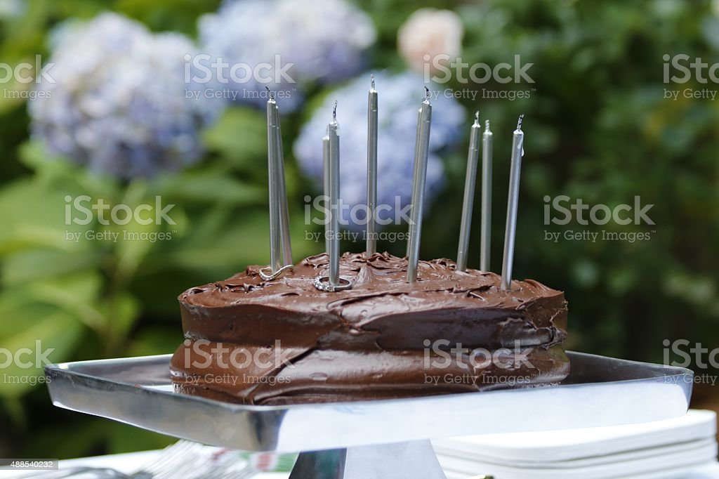 Food: Chocolate cake with frosting and candles stock photo